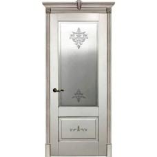 Дверь Испания ДО 70 Эмаль белая + Патина серебро